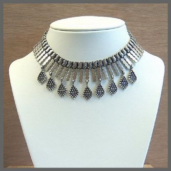 Traditional Indian Sterling Silver Choker Necklace